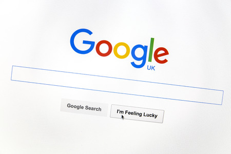 icons site search: Google UK website on a computer screen. Editorial
