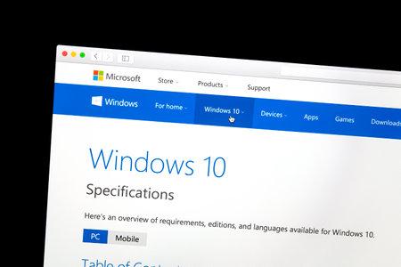 windows: Windows 10 website on a computer screen
