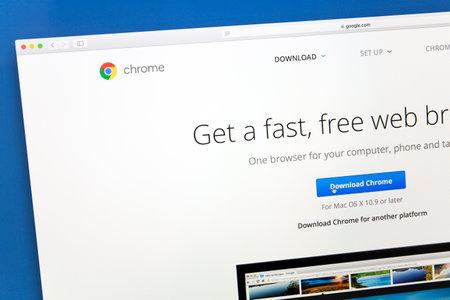 google chrome: Google chrome website on a computer screen