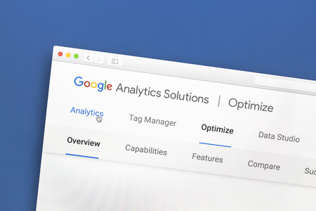 Google Analytics website op een computerscherm. Google Analytics is een webanalyse-service die wordt aangeboden door Google