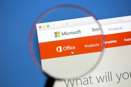 microsoft: Microsoft Office website on a computer screen. Microsoft Office is an office suite of applications developed by Microsoft.
