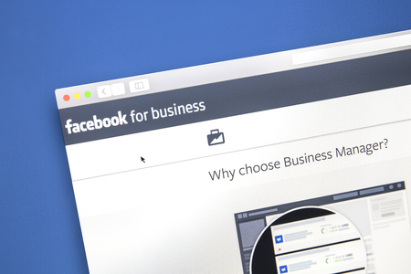 Closeup of Facebook business page.