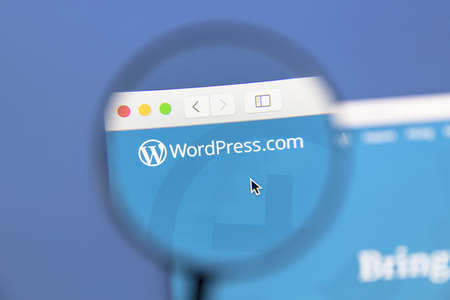 open source: Wordpress website under a magnifying glass. WordPress is a free and open source blogging tool.