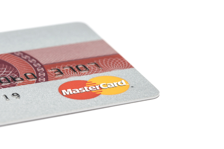 Ostersund, Sweden- July 289, 2017: Mastercard logo on s credit card. Mastercard is one of the biggest credit card companies. Sajtókép