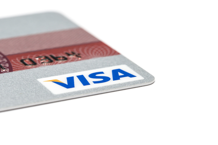 Ostersund, Sweden- July 29, 2017: Visa logo on s credit card. Visa is one of the biggest credit card companies.