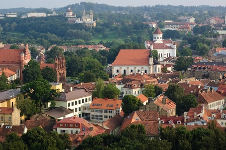 lithuania: Panorama view of Vilnius old town, Lithuania Stock Photo