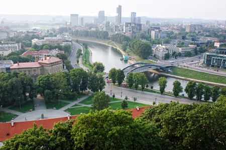 bird's eye view: View of Mindaugas Bridge across Neris River in Vilnius, Lithuania Stock Photo
