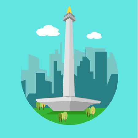 Monas monument, landmark of jakarta city indonesia Illustration