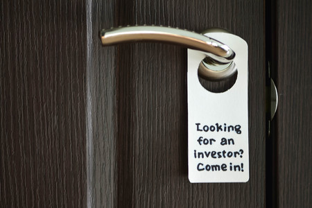 Door hanger sign (door sign). Door knob. Door Sign Looking for an investor? Come in!. Hand made hanger.