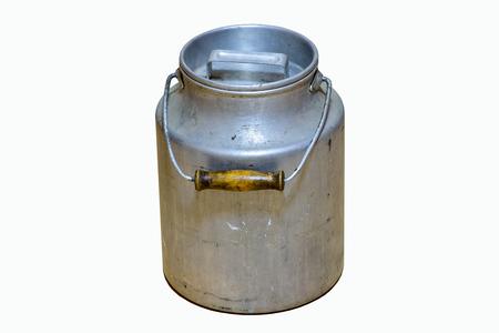 Peut être utilisé comme alternative à l'utilisation de récipients en plastique. Isolé sur fond blanc. Récipient à lait
