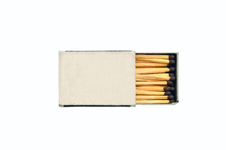 Wooden matches and matchbox isolated on white background
