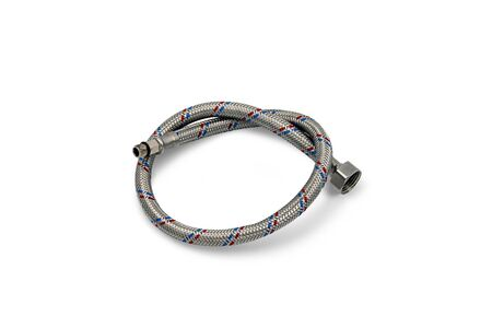 Durable braided stainless steel flexes, water supply flexes. Plumbing hoses for water isolate on a white background.