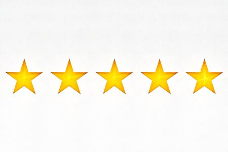 Shining five star symbol, hand made from cardboard, the concept of a positive rating, reviews and feedback.