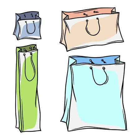 carry bag: Set of colored paper shopping bags
