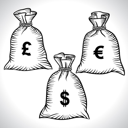 bank note: Money bags with dollars, euro and pound  Vector