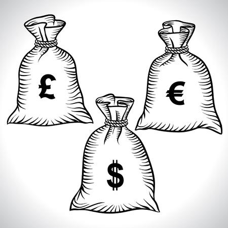 monete antiche: Sacchi di denaro con dollari, euro e vettoriali libra