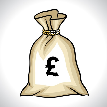 pound sign: Money bag with pound sign vector illustration