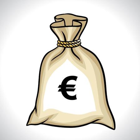 euro teken: Geld zak met euro teken vector illustratie
