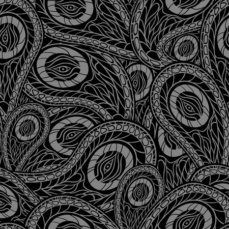 Black seamless pattern with paisley Illustration