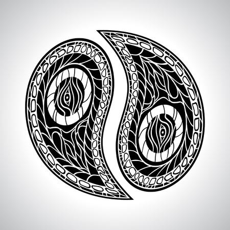 yin: Floral Yin Yang Symbol vector illustration  Illustration