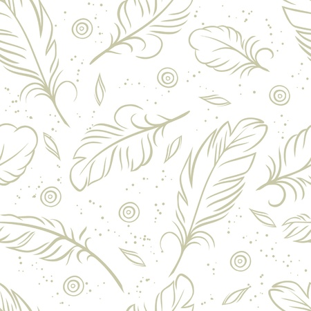 blue pen: Vintage seamless pattern with hand-drawn feathers Illustration