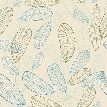 물결: 잎의 벡터 일러스트 레이 션 원활한 패턴 일러스트