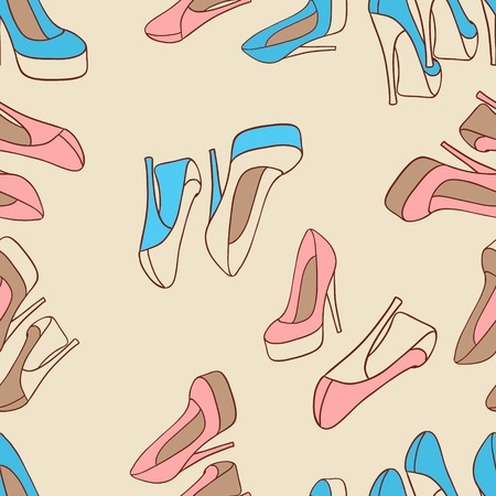 Vector illustration  Fashion background with feminine shoe  Vector