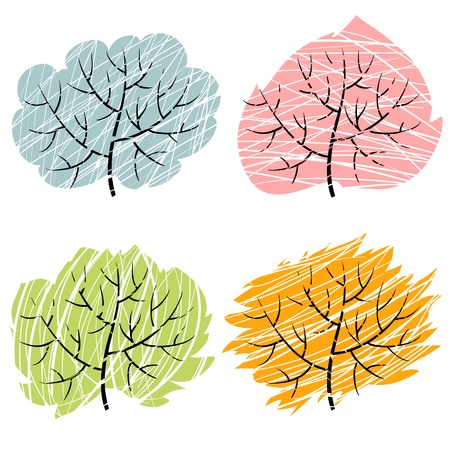 and four of the year: Four season trees, vector illustration of abctract trees