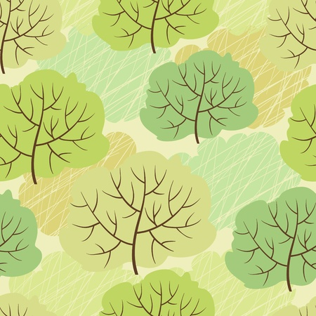Vector trees seamless pattern  Abstract green background  Vector