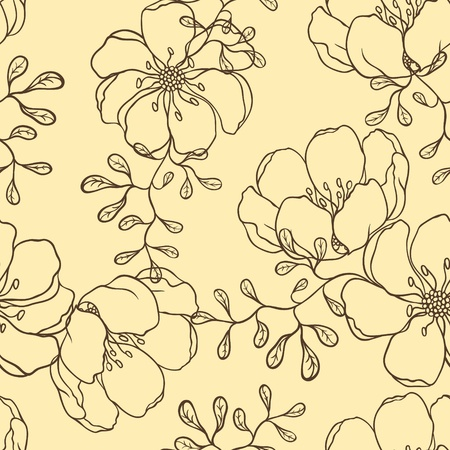 brawn: Vector background with hand drawn flowers   Seamless Pattern  Illustration