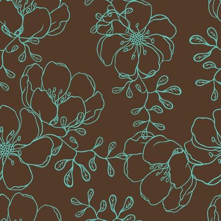 식물상: 손으로 그린 꽃 원활한 패턴 벡터 배경 일러스트