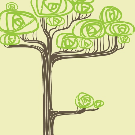 square root: Abstract vector illustration of stylized green tree