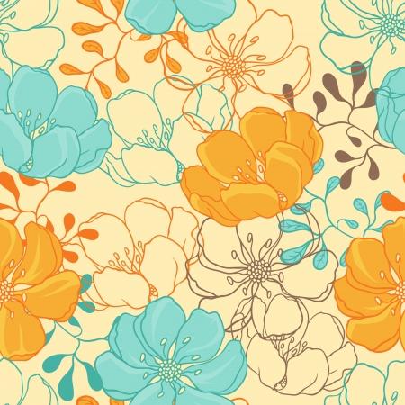 Vector background avec dessinés à la main fleurs Seamless