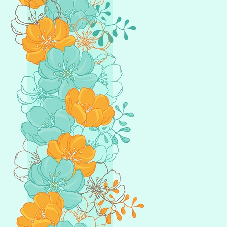 Vector background with hand drawn flowers   Seamless Pattern Stock Vector - 13195788