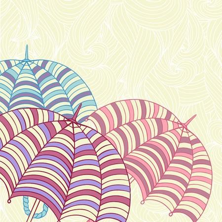 Design ellement with cute umbrellas  Vector illustration Stock Vector - 13195794