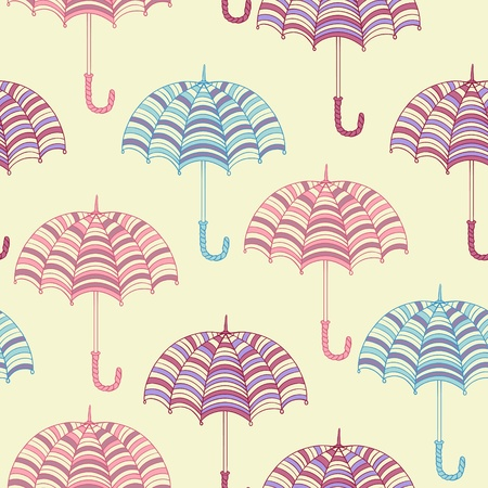 Seamless pattern with cute umbrellas  Vector illustration  Vector