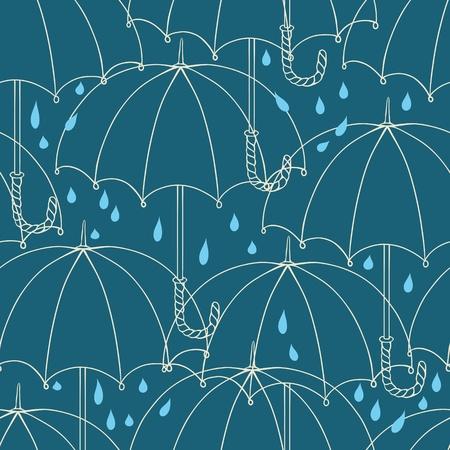 Seamless pattern with cute umbrellas  Vector illustration  Illustration
