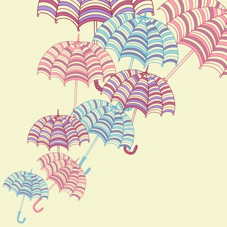 storm rain: Design ellement with cute umbrellas  Vector illustration  Illustration