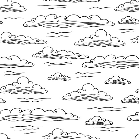 meteo: Seamless background with clouds - vector illustration