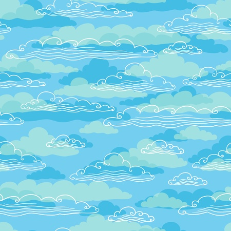 Seamless background with clouds - vector illustration  Vector