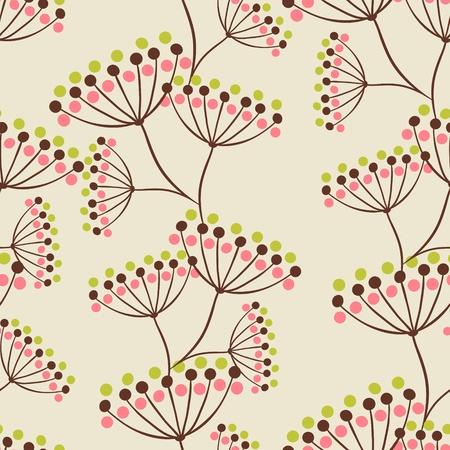 Vector background con fiori disegnati a mano Seamless Pattern
