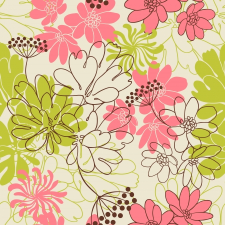 flowers background: Vector background with hand drawn flowers   Seamless Pattern  Illustration