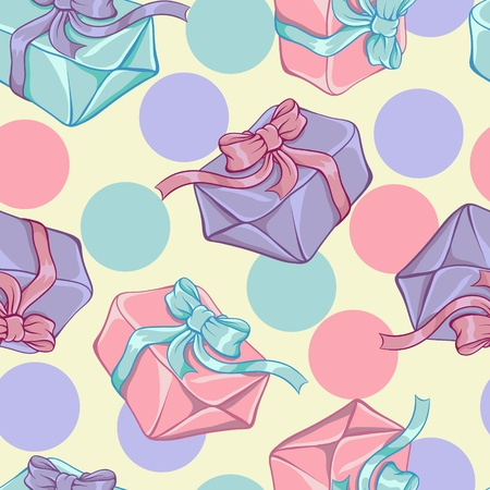 Seamless pattern with gift boxes  Vector texture  Vector