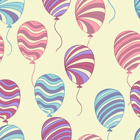 Seamless pattern of hand drawn balloons, vector