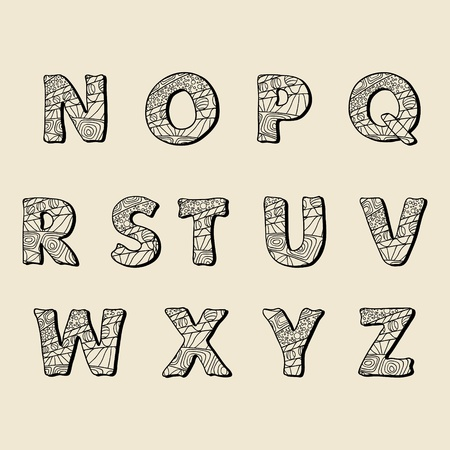 Cute hand drawn font  Vector letters set N-Z Vector