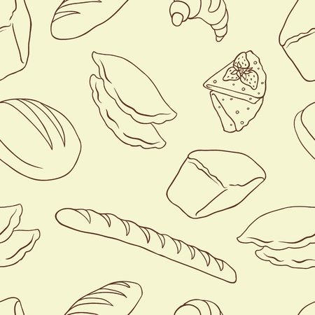 baking bread: Vector background on the Bread theme  No gradient  Illustration