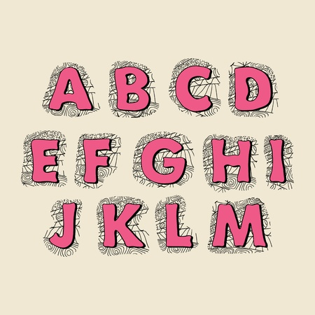 Cute hand drawn font  Vector letters set A-M Stock Vector - 13288480