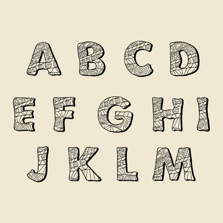 Cute hand drawn font  Vector letters set A-M Vector