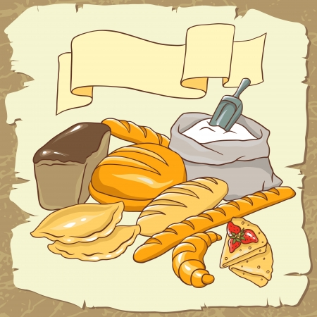 rye bread: Vector image on the Bread theme  No gradient
