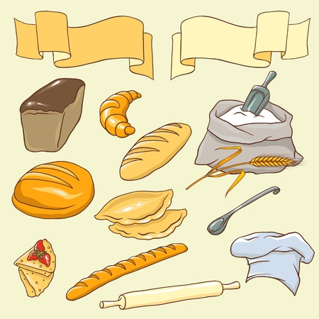 Vector set on the Bread theme  No gradient